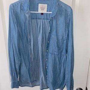 Flowy Jean color button up shirt